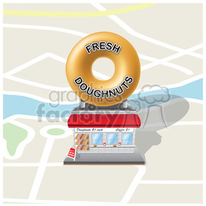 vector RG cartoon doughnut doughnuts breakfast food snack snacks vintage retro store storefront building business stores shop shops map. maps directions location