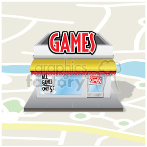 vector game storefront on a map clipart. Commercial use image # 384653