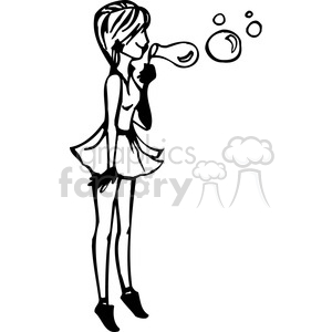 cartoon girls female black white teenager teen teens young women lady girl females woman vinyl-ready summer bubbles blowing bubble
