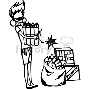 lady holding gifts clipart. Commercial use image # 384748