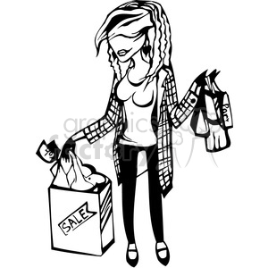 lady holding shopping bags clipart. Commercial use image # 384758