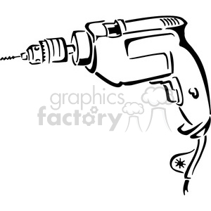 vector tools hardware black white cartoon drill