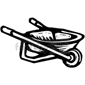 black and white wheelbarrow clipart. Commercial use image # 384964