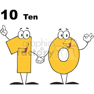 12839 RF Clipart Illustration Number Ten Cartoon Character clipart. Commercial use image # 385094