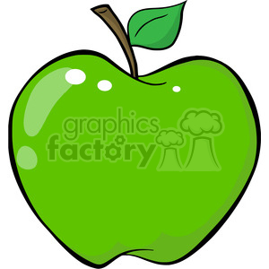 12928 RF Clipart Illustration Green Apple clipart. Royalty-free image # 385104