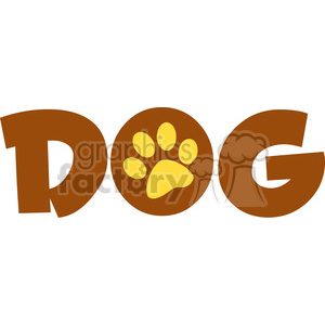 12811 RF Clipart Illustration Dog Text With Paw Print clipart. Royalty-free image # 385114