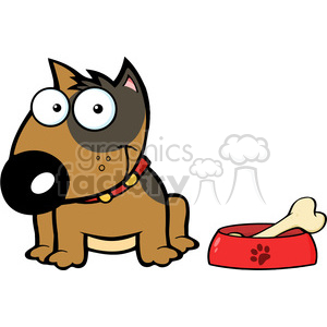 12818 RF Clipart Illustration Smiling Brown Bull Terrier Dog With Bowl And Bone clipart. Commercial use image # 385124