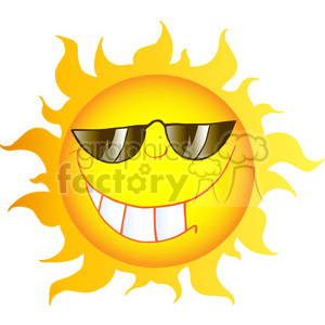 12899 RF Clipart Illustration Smiling Sun Cartoon Character With Sunglasses clipart. Royalty-free image # 385144