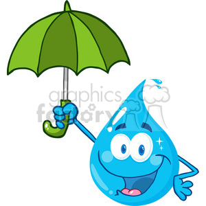 12866 RF Clipart Illustration Smiling Water Drop With Umbrella clipart. Royalty-free image # 385154