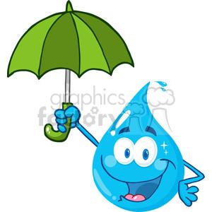 cartoon vector illustration water drop liquid character umbrella rain weather