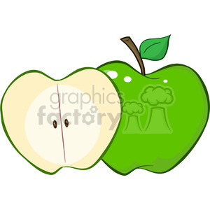 12933 RF Clipart Illustration Whole And Cut Green Apple clipart. Royalty-free image # 385164