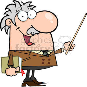 12829 RF Clipart Illustration Professor Holding A Pointer clipart. Royalty-free image # 385174