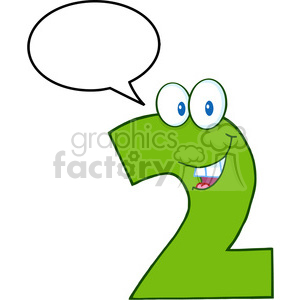 cartoon funny education school learning numbers character happy 2 two green