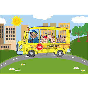 5053-Clipart-Illustration-of-School-Bus-Heading-To-School-With-Happy-Children clipart. Royalty-free image # 385204