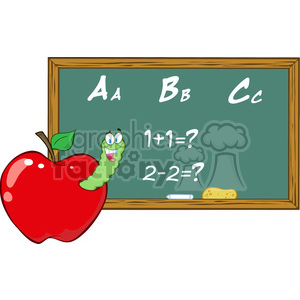 4958-Clipart-Illustration-of-Happy-Student-Worm-In-Apple-In-Front-Of-School-Chalk-Board animation. Commercial use animation # 385214