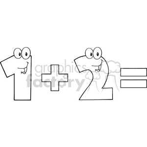 cartoon funny education school learning numbers math 1 plus 2 one two black white