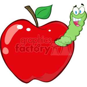 cartoon funny education school learning apple worm character happy