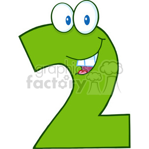 cartoon funny education school learning character happy 2 two green