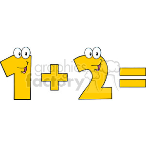 cartoon funny education school learning numbers math character happy 1 plus 2 one two