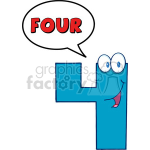 cartoon funny education school learning numbers 4 four blue