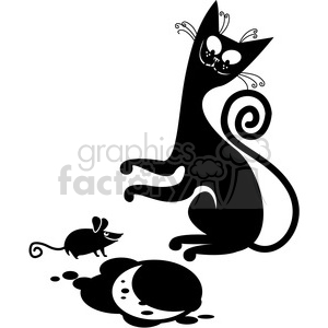 vector clip art illustration of black cat 075 clipart. Commercial use image # 385344