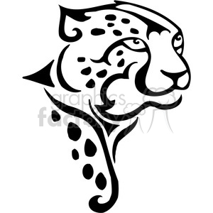 vector black+white animals wild outline vinyl-ready cheetah cat tattoo