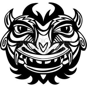 ancient tiki face masks clip art 043