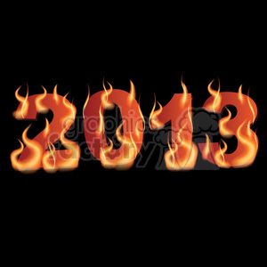 2013 flaming text clipart. Commercial use image # 385987