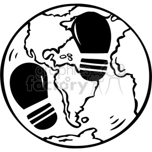 eco environment illustration logo symbols elements earth black+white footprint carbon effects humans