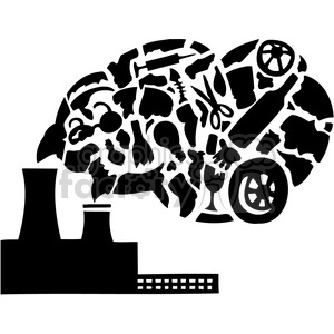 factory pollution releasing Carbon dioxide clipart. Commercial use image # 386089