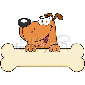5200-Cartoon-Dog-Over-Bone-Banner-Royalty-Free-RF-Clipart-Image clipart. Royalty-free image # 386308