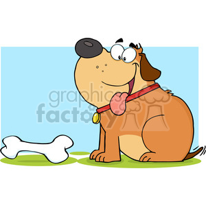 5251-Happy-Fat-Dog-With-Bone-Royalty-Free-RF-Clipart-Image clipart. Royalty-free image # 386338