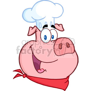 5388-Happy-Pig-Chef-Head clipart. Commercial use image # 386464