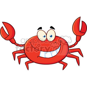 Funny Crab Cartoon Mascot Character clipart. Commercial use image # 386494