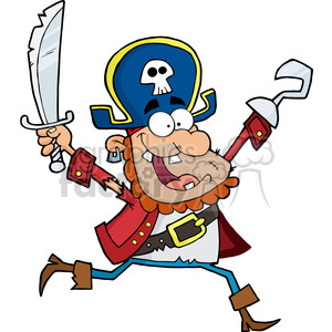 Running Pirate Holding Up A Sword And Hook clipart. Royalty-free image # 386504