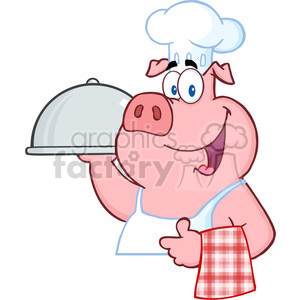Happy Pig Chef Holding A Platter Sign clipart. Commercial use image # 386534