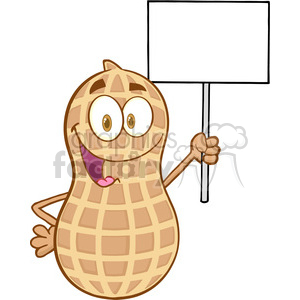 Peanut Cartoon Mascot Character Holding Up A Blank Sign clipart. Commercial use image # 386554