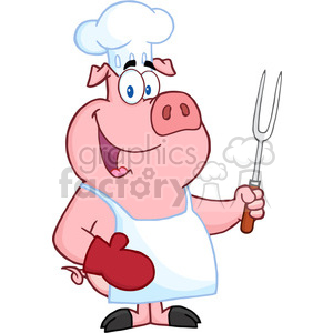 Happy Pig Chef Holding A Fork clipart. Commercial use image # 386564