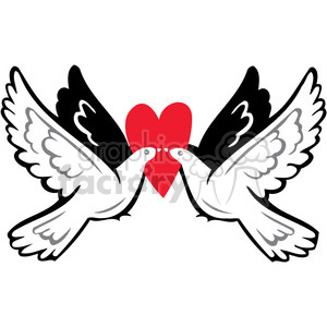 love Valentines hearts cartoon vector birds doves