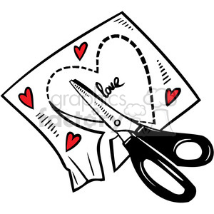 scissors cutting a heart out of paper clipart. Commercial use image # 386673