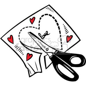 love Valentines hearts cartoon vector heart craft cutting scissors