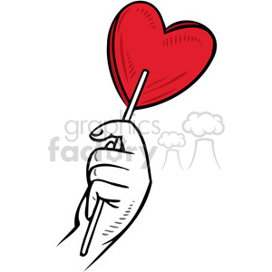 love Valentines hearts cartoon vector heart sucker candy wear+red+day hand holding