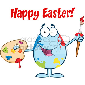 Clipart of Happy Easter With Easter Egg Painter With A Brush And Palette clipart. Royalty-free image # 386861