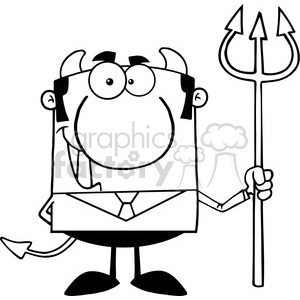 Clipart of Smiling Devil Boss With A Trident