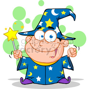 Royalty Free Happy Wizard Boy Waving With Magic Wand clipart. Royalty-free image # 386931