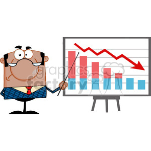 Royalty Free Angry Business Manager With Pointer Presenting A Falling Chart clipart. Royalty-free image # 386941