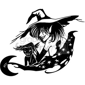 Halloween scary black+white vinyl+ready witch