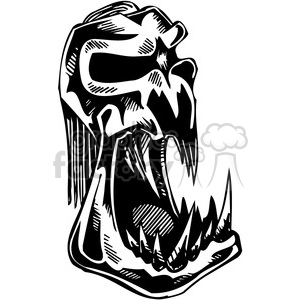 vinyl-ready black+white tattoo design animals creatures aggressive wild skull bones evil death