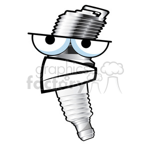 grumpy spark plug cartoon character 002 clipart. Royalty-free image # 387182