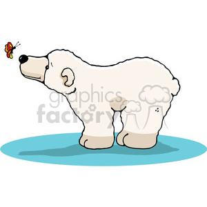 polar bear with butterfly in color